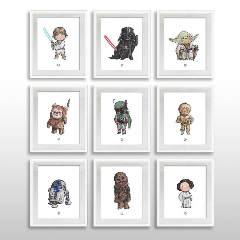photograph about Printable Star Wars Characters known as Quick Down load 15 Star Wars Clic People, 8x10 Print, PRINTABLE, Luke Vader Yoda + Even further, Watercolor Wall Artwork, .pdf Organized towards Body