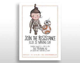 EDITABLE PRINTABLE Orange Star Wars Girl Invitations Rey & BB-8, Birthday Party Invite Instant Download The Force Awakens The Last Jedi .pdf