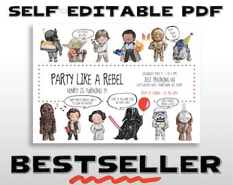 STAR WARS Invitation, Disney Star Wars Original Characters Birthday Party Invite w/ Party Props, EDITABLE Printable Personalized Custom Pdf
