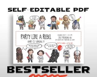 EDITABLE PRINTABLE Star Wars Birthday Invitation, Star Wars Birthday Party Invite, Instant digital download, pdf, diy