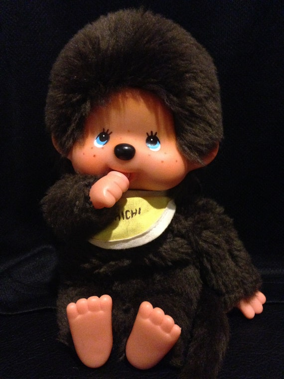 Vintage 1970s Sekiguchi MONCHHICHI Original Thumb Sucking Boy In Yellow Bib!!!Made In Japan!!