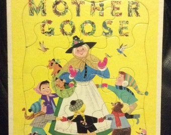 Vintage Golden MOTHER GOOSE Frame Tray Puzzle