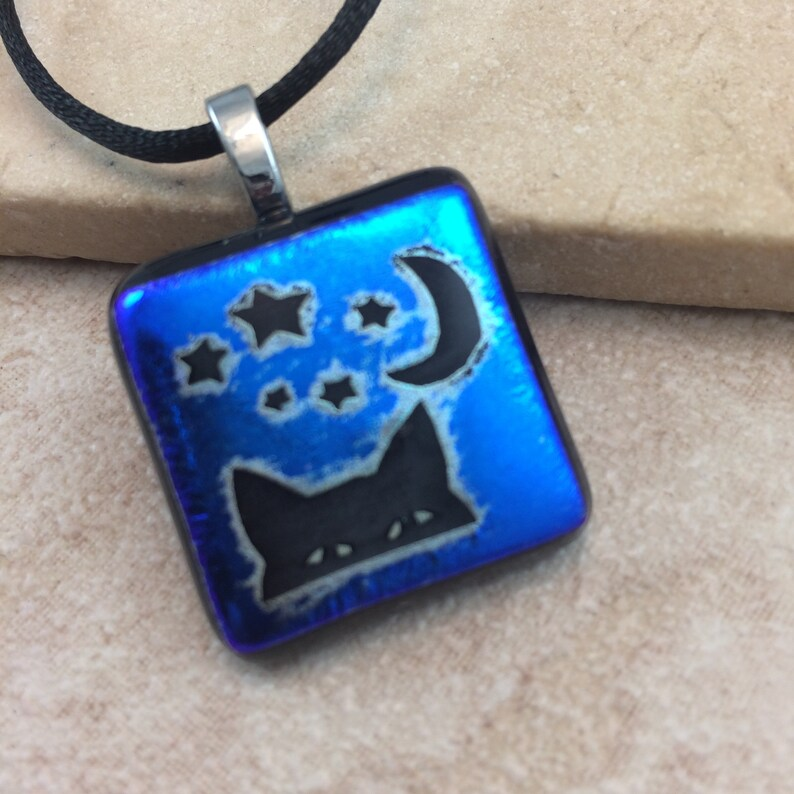 Blue Cat Dichroic Jewelry HEA470 Kitty Cat Necklace Blue Dichroic Cat Moon Pendant Dichroic Pendant Fused Glass Jewelry
