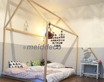 Twin size Kids nursery bed wooden house. Children bed house .Play wood house.Play wooden house bed.Kids teepee ,infant tipi bed.