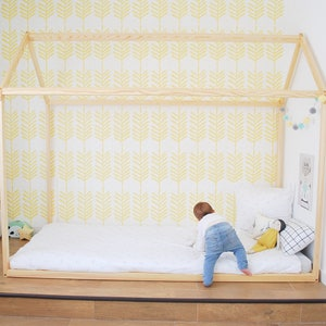 70 x 140 cm lit cabane toddler bed play house bed frame children bed bunk bed home bed wood house floor bed wooden bed wood house - Lit Cabane But