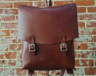 Handcrafted Old School Leather Backpack, Full Grain Genuine Leather, Minimalist Stylish Computer Backpack, Unisex Classic Computer Carrybag