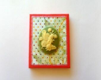 "Miniature decorative canvas sparkly fairy fall series ""Flower dreams"""