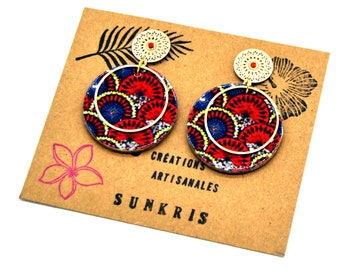 wooden earrings and resinded japanese pattern red gold blue