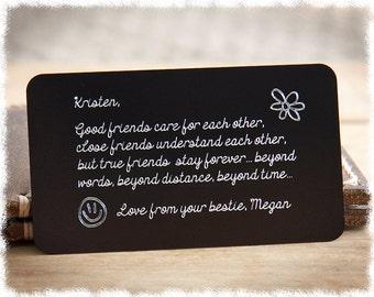 Mens Personalized Gift Boyfriend For Men Her Engraved Wallet Card Insert 21st Birthday Mom