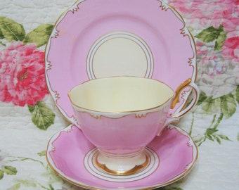 Beautiful Vintage Pink Royal Albert Cup, Saucer & Plate.