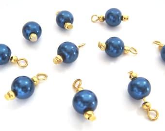 10 ROUND 8MM PURPLE GOLD GLASS PEARL BEADS CHARMS DANGLE PENDANT CHARM BRACELET
