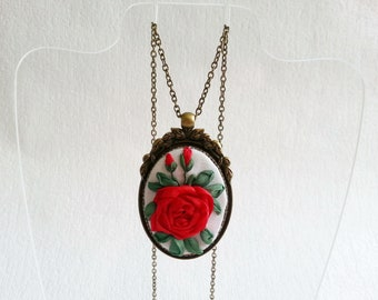 Embroidered necklace red rose necklace Silk ribbon embroidered pendant Vintage necklace for women Embroidered jewelry Mother's Day gift