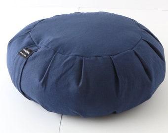 Round Zafu Buckwheat Meditation Cushion - Navy Blue
