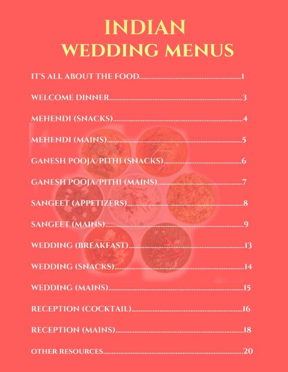 Indian Wedding Menu Indian Food Indian Food Menus Indian Etsy