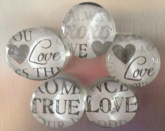 Love Theme Refrigerator Magnets, Set of 5