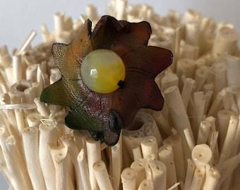 Leather handmade flower ring