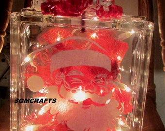 santa claus illuminated glass block night light lighted glass block christmas light christmas decoration santa light