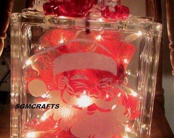 santa claus illuminated glass block night light lighted glass block christmas light christmas decoration santa light - Glass Block Christmas Decorations