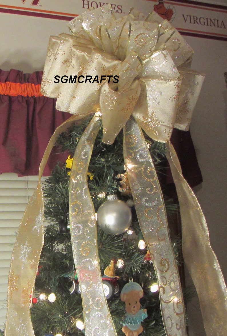 Ivory and Gold Christmas Tree Topper Bow Ivory Tree Topper Christmas Tree Topper Champagne Tree Topper Holiday Tree Topper Yule Tree Topper