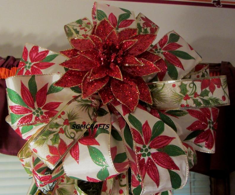 Pointsetta Christmas Tree.Poinsettia Tree Topper Bow Poinsettia Wired Ribbon Bow Christmas Tree Topper Bow Holiday Tree Topper Yule Tree Topper Bow Poinsettia Bow