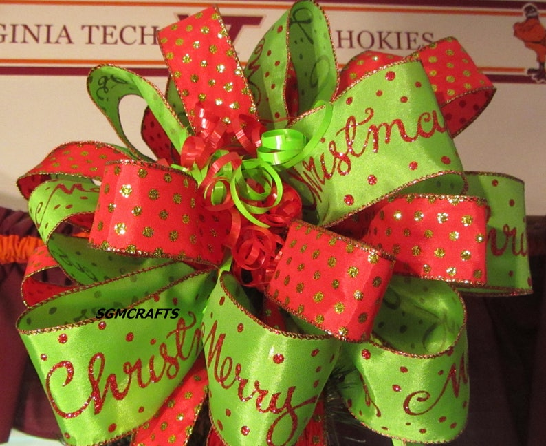 Red and Green Wired Ribbon Christmas Tree Topper Bow Merry ...