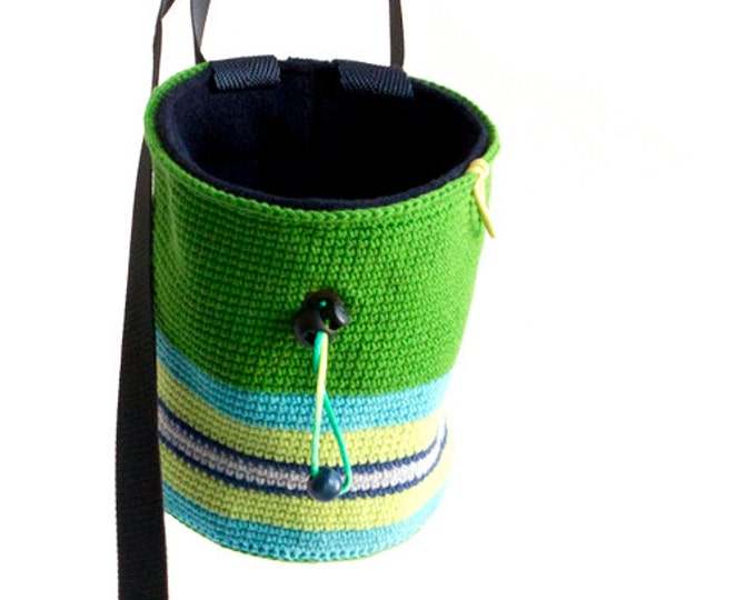 Crochet Chalk Bag. Trad Chalk Bag for Climbers. Climbers Gift Idea. Handmade Chalkbag L Size