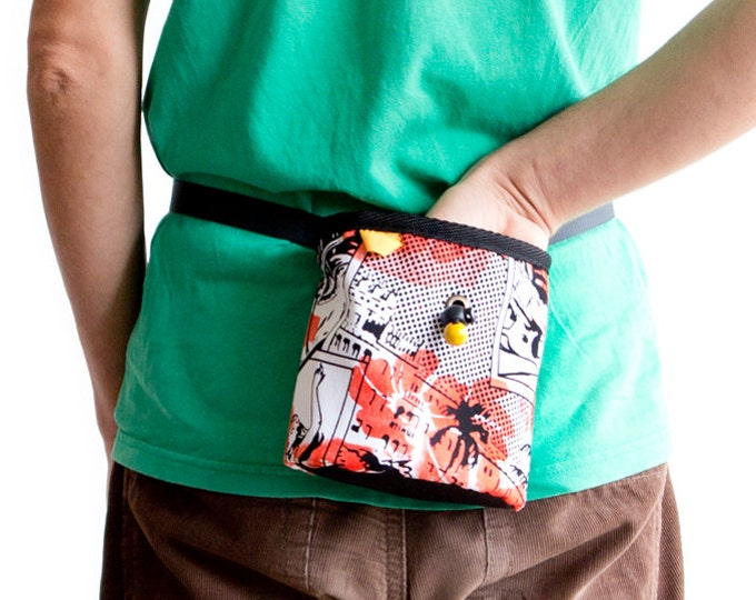 Chalk Bag Climbing. Magnesium Bag Climbing Pouch. Chalkbag Handmade. Gift for a Rock Climber. L Size, With Elliptical Bottom