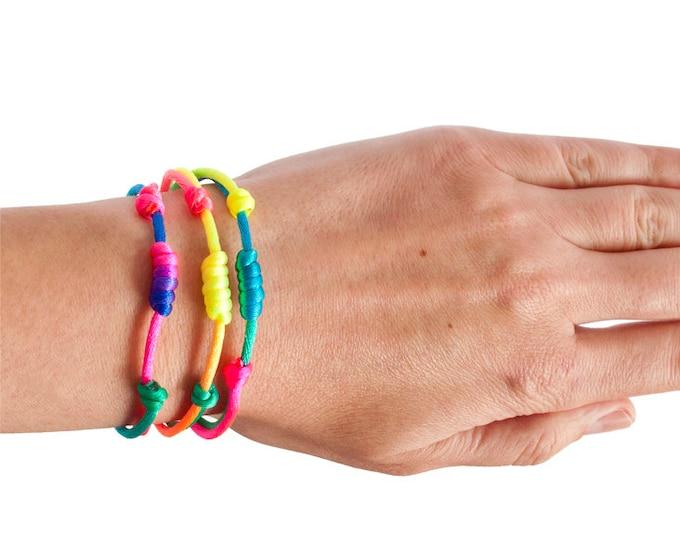 Neon Bracelet Rope Bracelet. Rock Climbing Jewelry Friendship Bracelet Unisex LGBT Pride Rainbow Colorful. 2 mm
