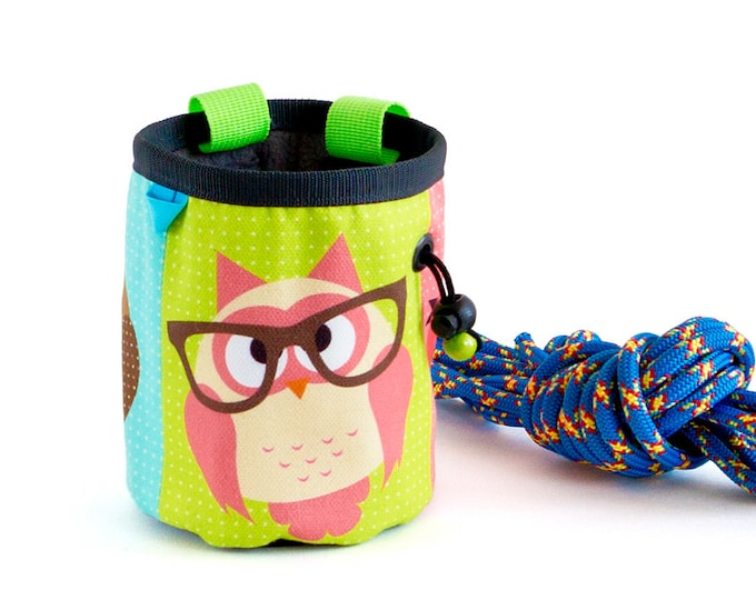 Climbing Accessories, Climbing Stuff, Rock Climbing Gear Chalkbag Owl Chalk Bag Climbers Gift M Size