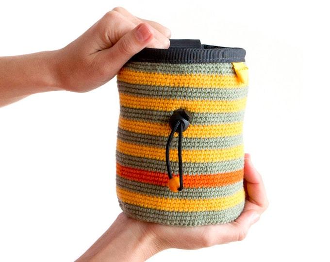 Crochet Chalk Bag. Knitted Chalkbag. Rock Climbing Pouch. Bee Chalk Bag M size