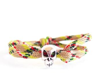 Mens Skull Bracelet, Skull Jewellery Gothic Bracelet, Skull Jewelry For Him. 4 mm