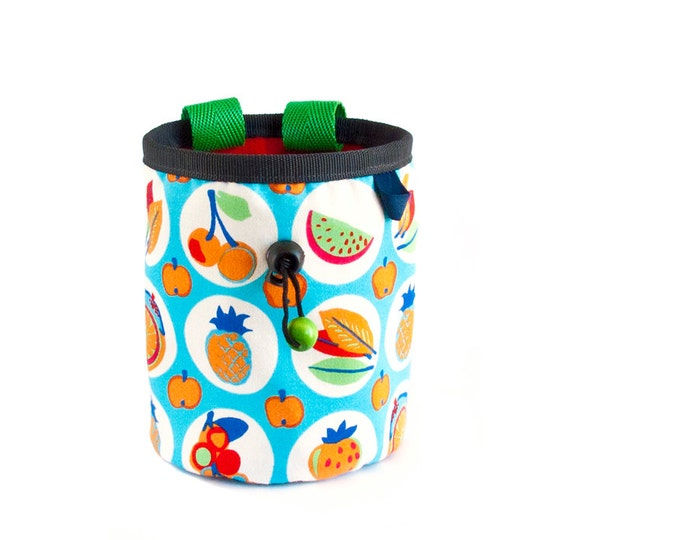 Climbing Chalk Bag. Bouldering Rock Climb Gifts, Cool Cute Handmade Chalkbag Bucket, Size L