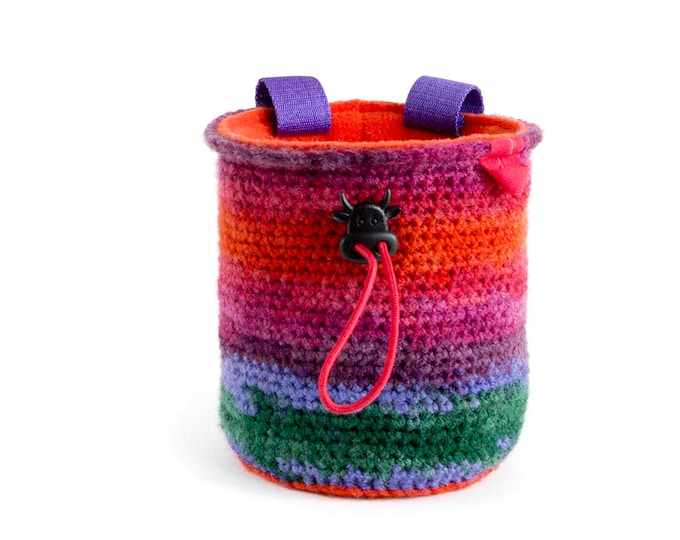 Ladies Chalk Bag. Rock Climbing Gift. Women Chalk Bag. Unique Chalk Bag. Sac magnésie, M Size