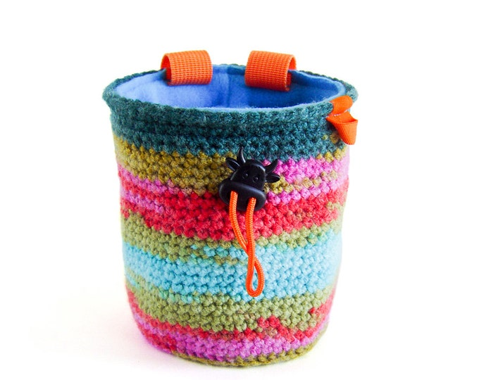 Crochet Rock Climbing Chalk Bag, Chalkbag Climbing, Knit Chalk Bag, M Size
