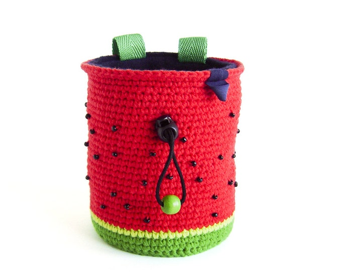 Watermelon Chalk Bag for Climbing. Rock Climbing Bag. Handmade Chalk Bag M or L size
