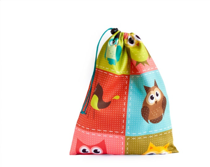 Drawstring Bag. Shoe Bag. Kids Toy Bag With Colorful Owls Kids Toys. Library Bag. Large Drawstring Bag, Kids Book Bag. Toy Storage