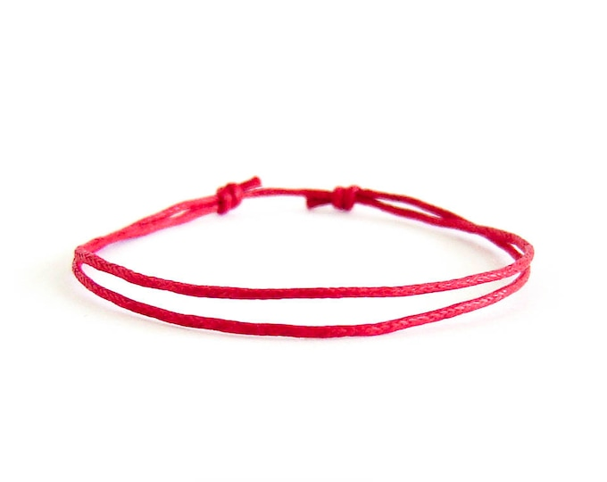 String Bracelet Circle, Red String Bracelet  For Good Luck. For Men And Women. Yellow, Green, Red or Blue Thread. 1 mm