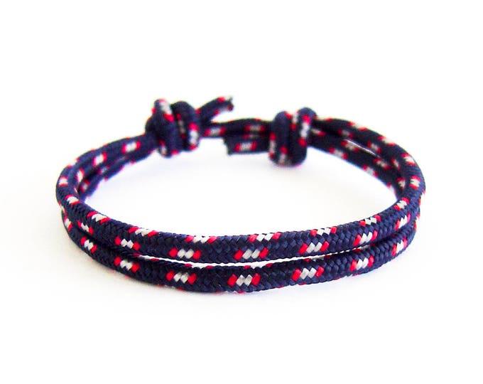 Rope Bracelet Ladies, Vanities Rope Bracelet. Womens Yacht Rope Bracelet Oceana Blue With Sliding Knot Emergency And Survival Jewelry. 3 mm