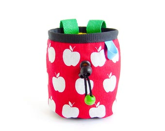 Rock Climbing Chalk Bag Kids. Child Chalkbag. Mini Chalk Bag, Chalkbag Kinder. Apples, Handmade, S Size