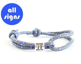 String Bracelet, Zodiac Jewelry, Gemini Jewelry, Gemini Bracelet, Constellation Jewelry Gemini. 3 mm