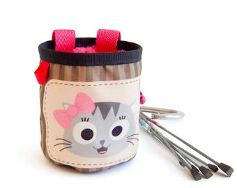 Childrens Chalk Bag Climbing, Children's Chalk Bag Handmade, Cat Chalk Bag Gym