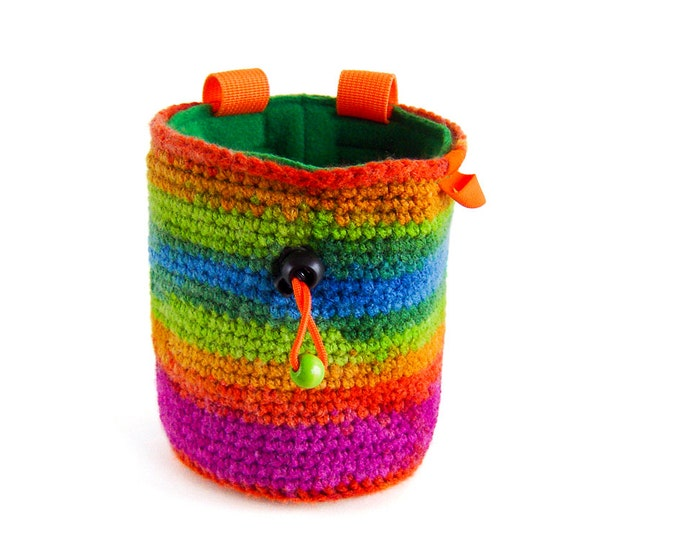Climbing Bag. Chalk Bag. Rock Climbing and Bouldering. Rainbow Chalk Bag. Handmade Chalk Bag, Climbing Pouch, Chalkbag, L Size