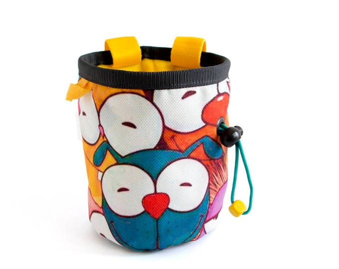 Custom Chalk Bag, Custom Made Chalk Bags Climbing, Custom Chalk Bags Rock Climbing, Unique Handmade In Funny Yellow Animals. Gym Bags. M
