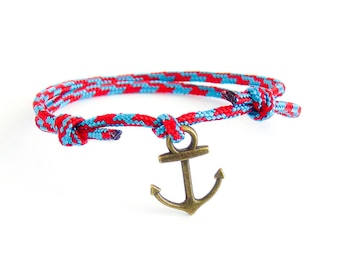 Mens Bracelet With Anchor, Mens Blue Anchor Bracelet, Mens Rope And Anchor Bracelet For Men, For Guys, For Her And Him. Cord Rope Knots 2 mm