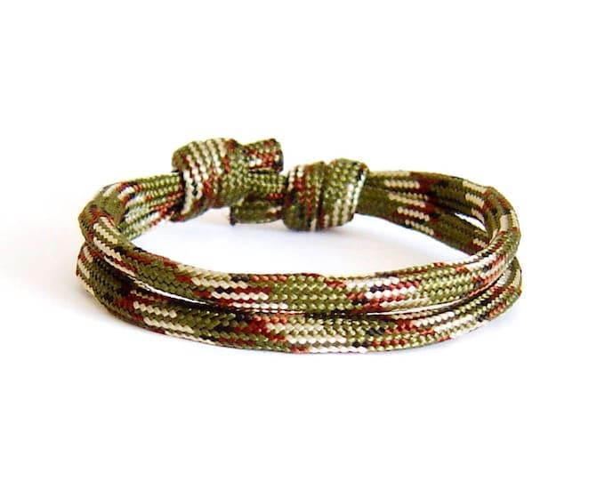 Rock Climbing Jewelry, Climbing Rope Bracelet. Survival Bracelet. Mens Anchor Bracelet. 4 mm