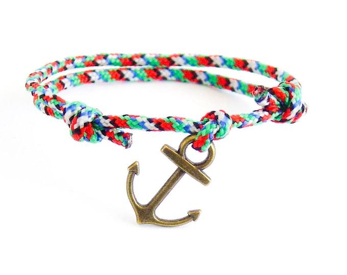 Mens Anchor Bracelet Jewelry. Mens Fashion Anchor Bracelet. Mens Nautical Anchor Bracelet Of Navy Red Rope. Wrap Mens Bracelet