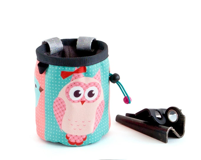 Cool Chalk Bag, Cute Chalk Bag, Chalk Bucket Powder Bag.  Handmade Chalk Bag, M Size