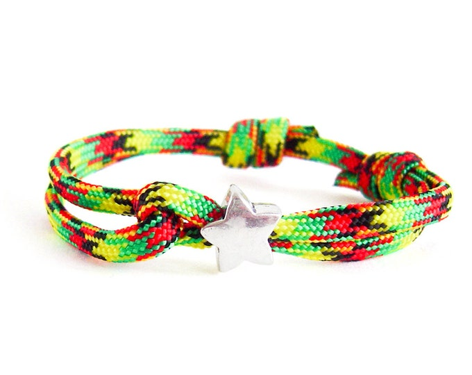 Survival Paracord Bracelet, Safety 550 Parachute Cord Jewelry, Mens Reggae Rope Star Adjustable Bracelet. 4 mm