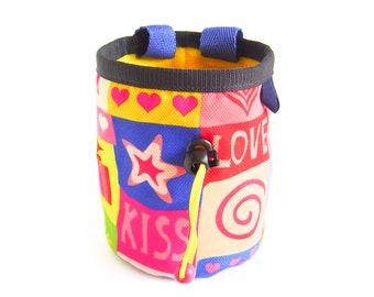 Cool Chalk Bag Climbing, Chalk Bag Cute. Cool Chalk Bag Rock Climbing Bouldering. Handmade Love Climb Equipment Bag for Climbers Funny M