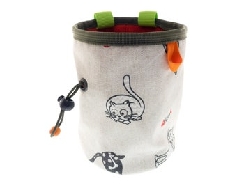 Chalk Bag Large, Climbing Bouldering Bag, Big Boulder Chalk Bucket with Cats. XL Size